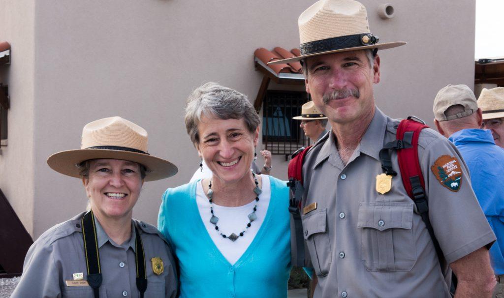 Secretary with park rangers