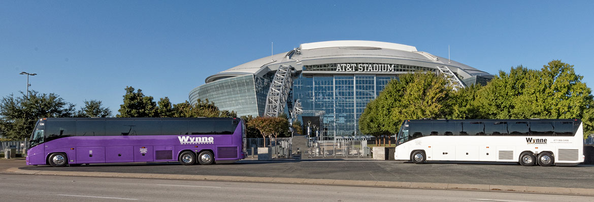 Buses in front of AT&T Stadium